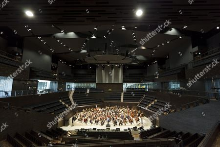 The Radio Symphony Orchestra rehearse in the new Helsinki Music Centre a day before the opening ceremony