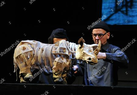 Stock Picture of Adrian Kohler with rhinoceros puppet
