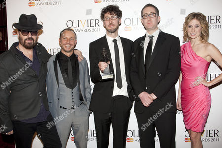 Liam Steel, Timothy Sheader and William Village, with Dave Stewart and Caissie Levy, accept the award for Best Musical Revival for 'Into the Woods'