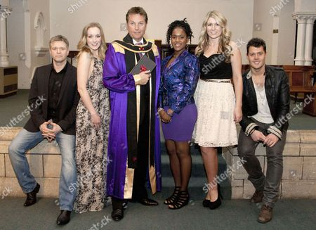 Stock Photo of Darren Day (Cast), Abbie Osmon (Cast), Brian Conley (Brother Love), Cleopatra Rey (Cast), Amy Diamond (Cast) and Ben James-Ellis (Cast)