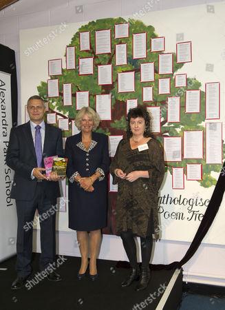 Camilla Duchess of Cornwall with Poet Laureate Carol Ann Duffy and Headteacher Michael McKenzie
