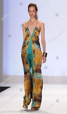 Model on catwalk in contestant Anya Ayoung Chee design