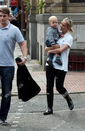 Jennifer Ellison and son Bobby and husband Robbie Tickle