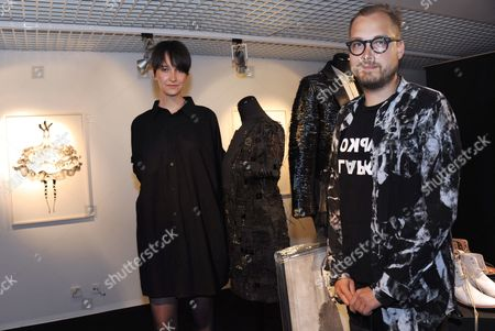Stock Photo of Illustrator Laura Laine and Finnish fashion designer Heikki Salonen get the Young designer of the Year Award
