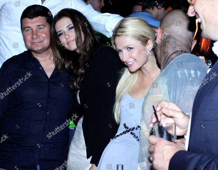 Aleksandr Onishenko, Sofiya Rudeva, Paris Hilton and Timur Yunusov