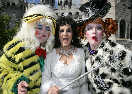 Lesley Joseph as The Fairy Godmother with Ben Stock and Adam Stafford as The Ugly Sisters