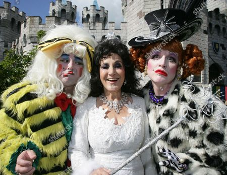 Stock Photo of Lesley Joseph as The Fairy Godmother with Ben Stock and Adam Stafford as The Ugly Sisters