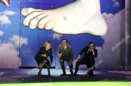 Stock Picture of 'No Naughty Bits' - Issy Ran Randwyck as Franklin, John Guerrasio as Fried and Joseph May as Shanks