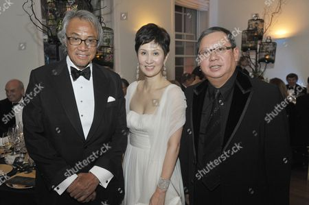David Tang with Michelle Ong and Chinese jeweller Peter Lam
