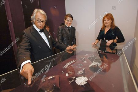 Curator of the show Sam Clark takes Michelle Ong, David Tang and Sarah, Sarah Ferguson Duchess of York on a guided tour of the jewellry exhibition.