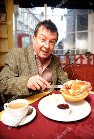 Stuart Maconie in Sally Lunn's Tea Shop, Bath