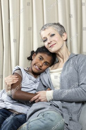 Jane Clarke with her adopted Indian daughter Maya. Jane has recently returned to India with Maya to see Maya's roots and culture