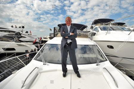 Sunseeker founder Robert Braithwaite with the Manhattan 53 boat