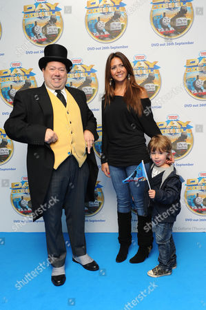 Vanessa Perroncel and son Jayden with the Fat Controller