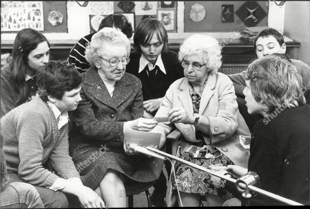 Editorial picture of Norah Jones (left) And Violet Lewis Have Gone Back To School - To Show That Everyone Has Lessons To Learn In The Fight Against Muggers. The Youngsters Join Norah 84 And Violet 71 For 'living History' Classes. But The Real Aim Is To Bridge The Gener
