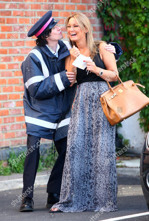 Sam Faiers laughing with 'traffic warden' - comedian Ross Lee