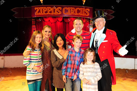 Pui Fan Lee, Chris Jarvis, Norman Barrett, Lowri Thomas (show girl), children (left to right) Charlotte, Eddie, Lousa