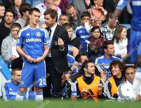Andre Villas-Boas, Manager of Chelsea brings on Josh McEachran choosing Martin Glover over Frank Lampard still on the bench