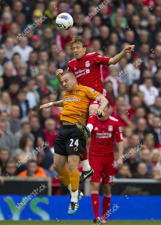 Jay Spearing of Liverpool beats Jamie O'Hara of Wolverhampton Wanderers to a header