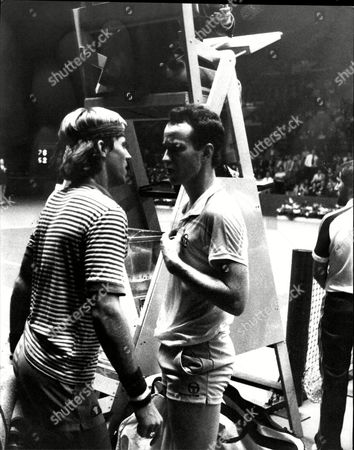 Tennis Players John Mcenroe (right) And Vince Van Patten Have Words After Their Match At Wembley.