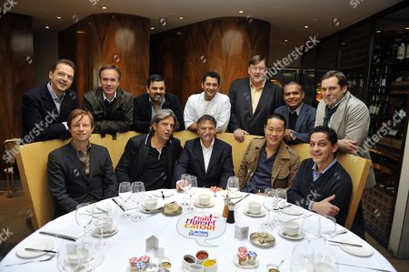 Top Chefs Unite To Launch 'fight Hunger Eat Out' For Action Against Hunger The Humanitarian Organisation For World Hunger At City Restaurant Coq D'argent. Charity Ambassador Raymond Blanc (centre) Is Joined By Back L-r Marcus Wareing Cyrus Todiwala Mickael Weiss Charles Campion Vivek Singh Tristin Welch Front L-r Oliver Rowe Giorgio Locatelli Raymond Blanc Jun Tanaka Francesco Mazzei. Photograph By Glenn Copus