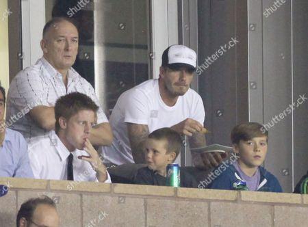 Ted Beckham, David Beckham, Cruz Beckham and Brooklyn Beckham