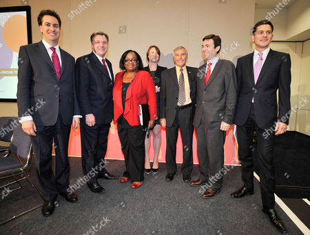 Labour Party Leadership Candidates Speak At A Hustings.-(l To R) Ed Miliband MP Ed Balls MP Diane Abbott MP Guardian Reporter Allegra Startton Tony Woodley Joint Gen Sec Of The Trade Union Unite Andy Burnham MP And David Miliband MP. TUC Annual General Congress At Manchester Central Convention Centre.- 13/9/10