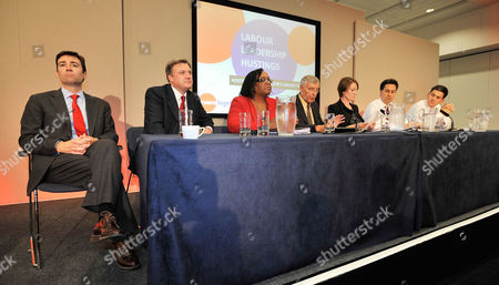 Labour Party Leadership Candidates Speak At A Hustings.-(l To R) Andy Burnham MP Ed Balls MP Diane Abbott MP Tony Woodley Joint Gen Sec Of The Trade Union Unite Guardian Reporter Allegra Staratton Ed Miliband MP And David Miliband MP. TUC Annual General Congress At Manchester Central Convention Centre.- 13/9/10