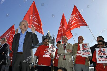 Unite Union Members Demonstrate Against Budget Cuts In The Bus Service Outside City Hall Today - Ken Livingstone Supports The Cause Watching As London & Eastern Regional Secretary Steve Hart Addresses The Crowd