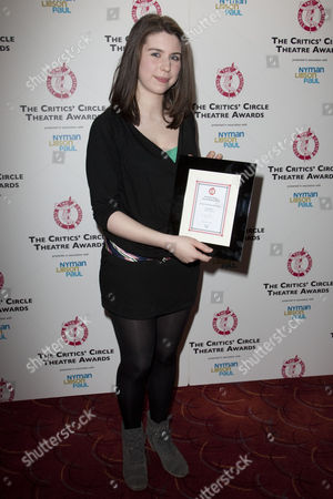 Stock Picture of Anya Reiss with the award for Most Promising Playwright