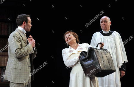 'The Importance of Being Earnest' - Daniel Brocklebank as Jack, Ishia Bennison as Miss Prism and Richard Cordery as Canon Chasuble