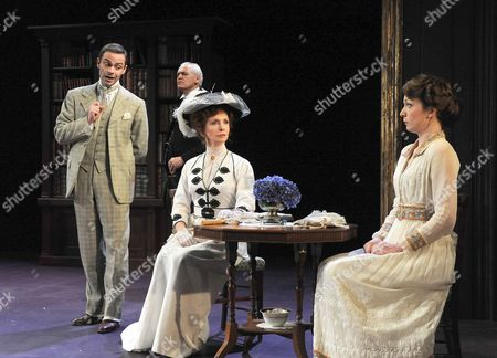 Stock Picture of 'The Importance of Being Earnest' - Daniel Brocklebank as Jack, Walter Van Dyk as Merriman, Jane Asher as Lady Bracknell and Kirsty Besterman as Gwendolen
