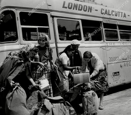 Editorial picture of London To Calcutta Bus Trip 1957 (london To India By Bus) The Coach Full Of 20 British During Their Trip For Names See Versions