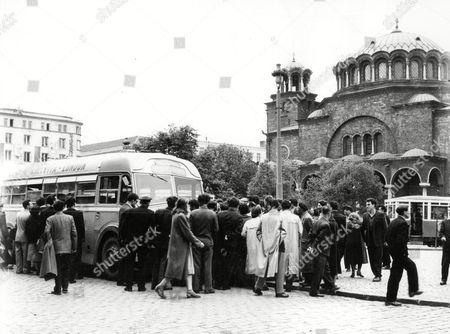 London To Calcutta Bus Trip 1957 (london To India By Bus) The Coach Full Of 20 British During Their Trip The Bus Drew A Crowd In Sofia In Bulgaria