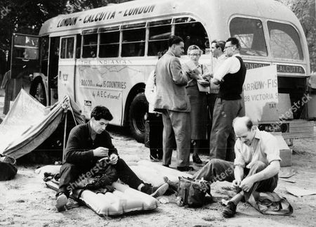 London To Calcutta Bus Trip 1957 (london To India By Bus) The Coach Full Of 20 British During Their Trip Taking A Rest In Yugoslavia