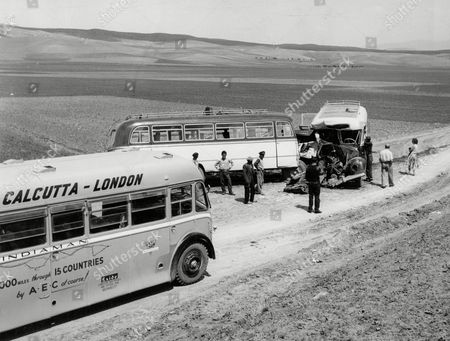 London To Calcutta Bus Trip 1957 (london To India By Bus) The Coach Full Of 20 British During Their Trip