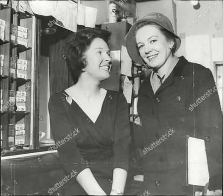 Actress Phyllis Calvert With Fan And Former Actress Wanda Rands Who Is Now Box Office Manage At The Queen's Theatre Where Phyllis Is Staring In A Play