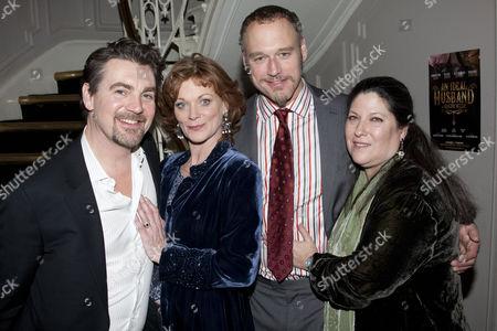 Alexander Hanson (Sir Robert Chiltern), Samantha Bond (Mrs Laura Cheveley), Elliot Cowan (Lord Arthur Goring) and Kim Poster (Producer)