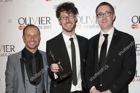 Liam Steel, Timothy Sheader and William Village accept the award for Best Musical Revival for 'Into the Woods'