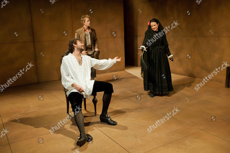Stock Photo of 'Phoenix of Madrid' - Milo Twomey (as Don Alonso), Peter Bramhill (as Moscatel) and Samantha Robinson (as Ines)