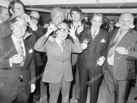 Comedian Arthur Askey 74 Celebrating 50 Years In Showbusiness At The Savoy Hotel Yesterday. Pictured L-r: Ernie Wise Leslie Crowther Eric Morecambe Danny La Rue Derek Nimmo Eric Sykes And Jimmy Edwards.