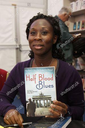 Esi Edugyan with her book 'Half Blood Blues'