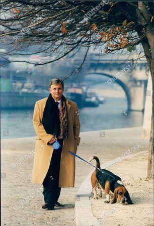 Author Edmund White In Paris With Pet Dog