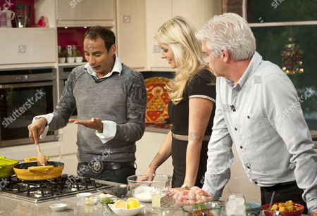 Reza Mahammad with Holly Willoughby and Phillip Schofield
