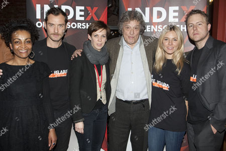 Adjoa Andoh, Jude Law, Natalia Kaliada (Co-Founder, Belarus Theatre), Tom Stoppard, Sienna Miller and Samuel West