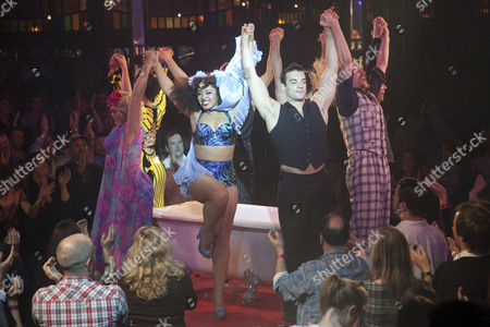 Mooky (Performer), Marawa (Performer), David O'Mer (Performer) and Captain Frodo (Performer) during the curtain call on Press Night for La Soiree at the South Bank Big Top, London, England on 21st October 2010.