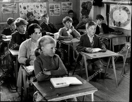 Classroom Scene 1960's. Seven-year-old Christopher Brooke (hand Under Chin) Takes His Place With The Rest Of The Class At Brookeborough Village School In County Fermanagh.