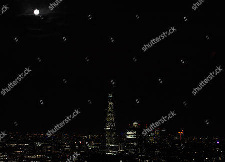 The Shard in construction at night, London, Britain