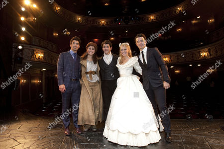 Joe Jonas, Samantha Barks (Eponine), Nick Jonas (Marius), Camilla Kerslake (Cosette) and Kevin Jonas backstage after the curtain call