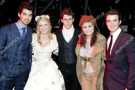 Joe Jonas, Camilla Kerslake (Cosette), Nick Jonas (Marius), Samantha Barks (Eponine) and Kevin Jonas backstage after the curtain call
